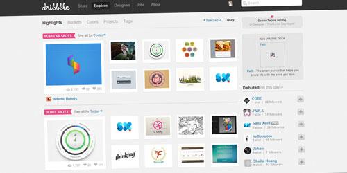 'Busco inspiração no site Dribbble.com